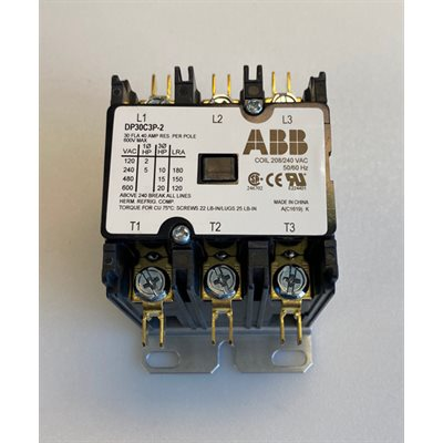 CONTACTOR 3 POLE,30 AMP 208-240V COIL 50-60Hz